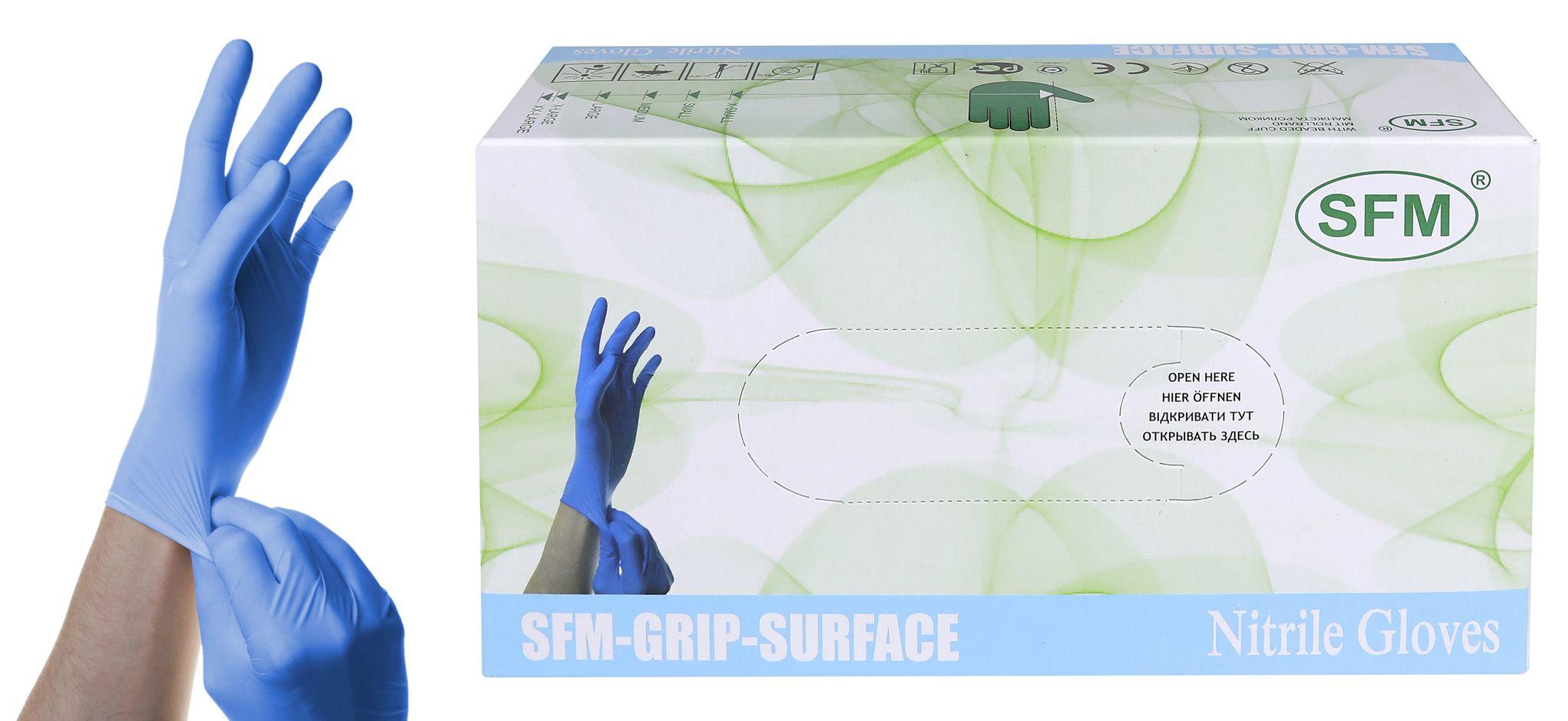 Перчатки нитриловые, голубые, размер M, 100 шт SFM-GRIP-SURFACE