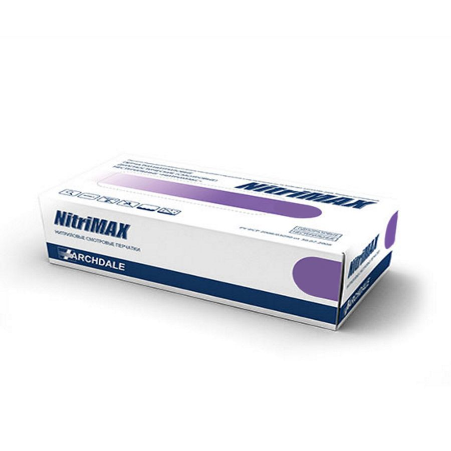 Перчатки нитриловые, фиолетовые, XL, 100 шт, NitriMax ARCHDALE