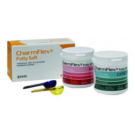 Материал стоматологический оттискной CharmFlex Putty, банка 280 мл база + 280 мл катализатор, две мерные ложки, DentKist