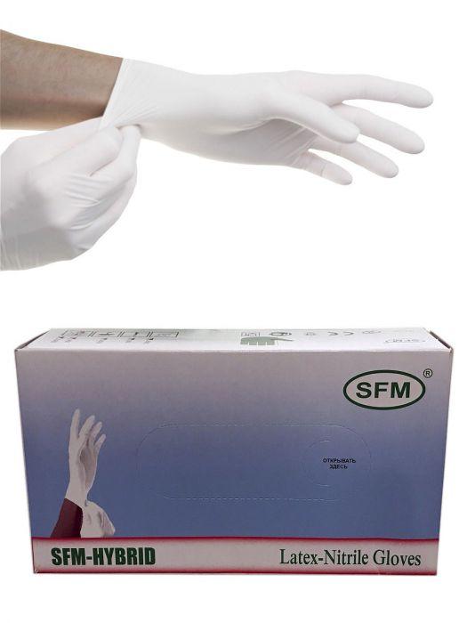 Перчатки латексные/нитриловые,белые, XS, 100 шт,  SFM-HYBRID