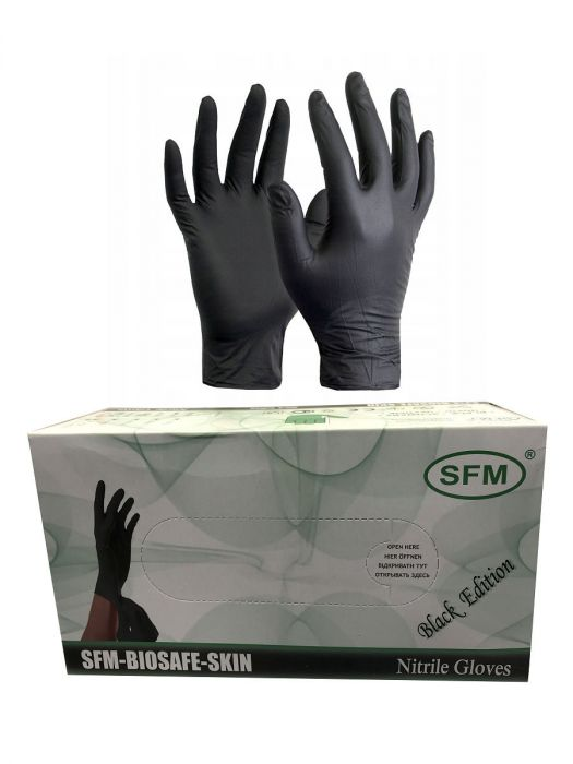 Перчатки нитриловые черные размер XS, 200 шт, SFM
