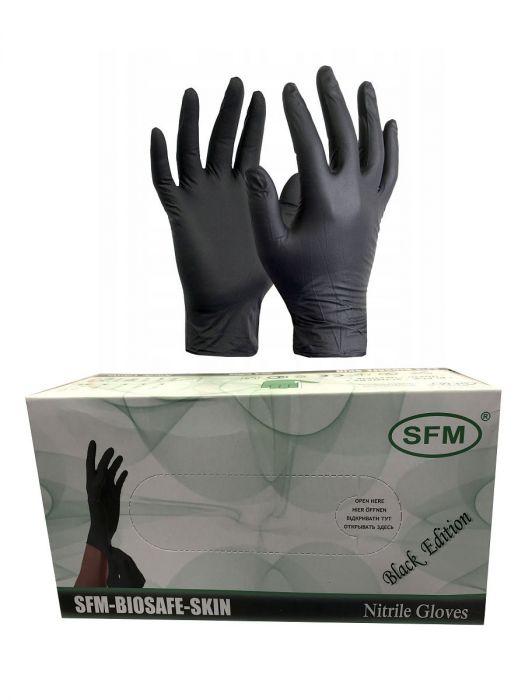 Перчатки нитриловые черные размер L, 200 шт, SFM