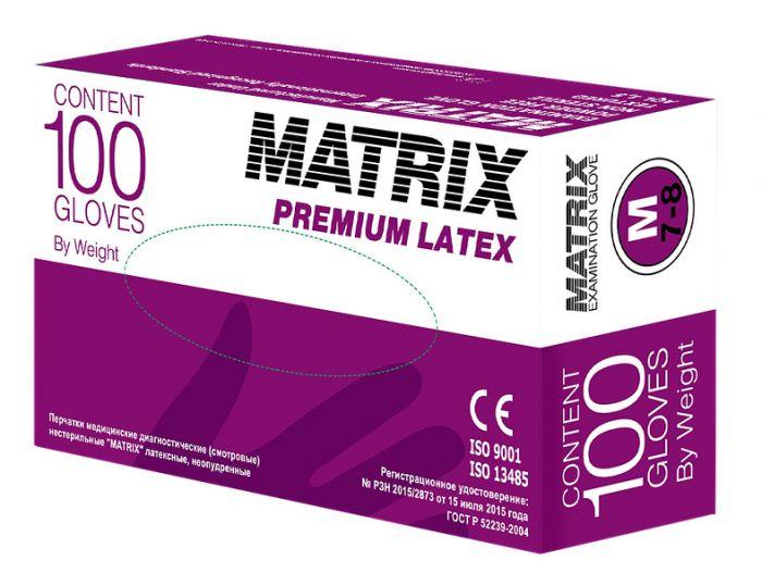Перчатки латексные светло-желтые, размер M, 100шт MATRIX Premium Latex