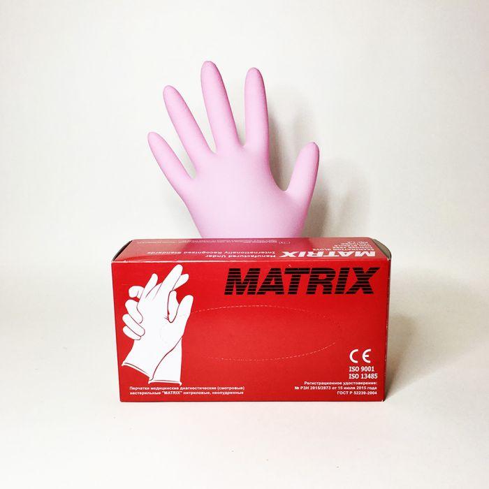 Перчатки нитриловые розовые размер S, 100 шт, MATRIX Pink Nitrile
