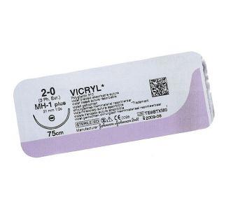 Викрил 3/0 Johnson&Johnson, игла колющая 20мм, уплощенный кончик, окр. 1/2, цвет фиолетовый, 75см, 12шт