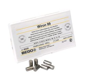 50225  WIRON 99  сплав (Ni Cr) для металлокерамики (1000 г.), Bego, Германия