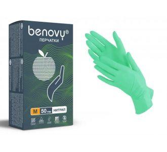 Перчатки нитриловые зеленые размер M, 100 шт, BENOVY Nitrile MultiColor