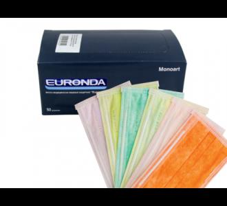 Маски Euronda трехслойные зеленые, 50шт