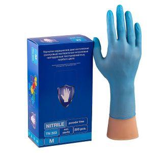 Перчатки нитриловые голубые размер XS, 200 шт, SC TN 303
