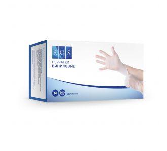 Перчатки виниловые белые, размер M, 100 шт, ROS