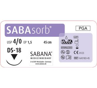 Sabana Medizinbedarf Sabasorb 4-0 игла обратно-режущая DS-18, окр.3/8 пересекающийся, цвет фиолетовый, 45см